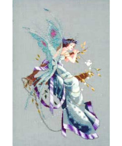 a fair brown-haired fairy leans sleepily in the fork of a twig. Her wings are translucent blue with purple spots. Her dress is a shimmering blue with violet ribbons.