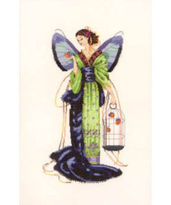A fairy with large indigo butterfly wings holds a birdcage full of finches. She wears a kimono of green and blue, overlong and trailing the ground, with golden ribbons.