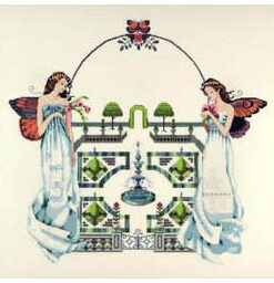 Two brunette fairies with sunset butterfly wings hold roses and wear long, gathered white dresses. They protect the gates of a distant garden maze.