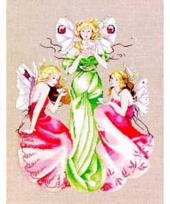 Three fairies, all with neat white wings with red spots, sip tea together. The tallest in the center wears a green gown, and the two crouched at her sides wear fuchsia.