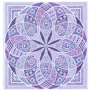 A circular mandala with white lines and shades of purple