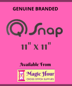 "A magenta square. Text reads, ""Genuine Branded Q Snap, 11 inch by 11 inch. Available from Magic Hour Cross Stitch Supplies"""