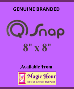 "A purple square. Text reads, ""Genuine Branded Q Snap, 8 inch by 8 inch. Available from Magic Hour Cross Stitch Supplies"""