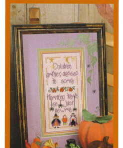 "A finished cross stitch is framed beside a plastic pumpkin. Text reads, ""Children gather dressed to scare, wanting treats, so just beware"""