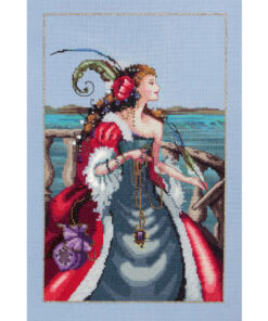 Looking over the rail of a ship at sea, she writes in her ledger with a plume. Long red hair spun with treasure and wearing flowing red and grey gown with white fur and one torn arm, her purple purse bulges and she's bedecked with jewels.
