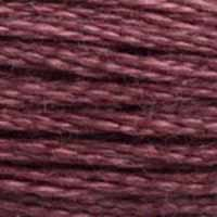 A close-up view of embroidery thread skeins, held taught horizontally. The shade is a medium dark dusty purple
