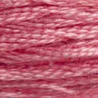A close-up view of embroidery thread skeins, held taught horizontally. The shade is a medium dusty pink