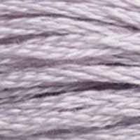 A close-up view of embroidery thread skeins, held taught horizontally. The shade is a very light purple, almost off-white
