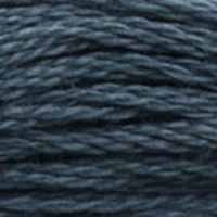 A close-up view of embroidery thread skeins, held taught horizontally. The shade is a dark steely grey with a hint of indigo