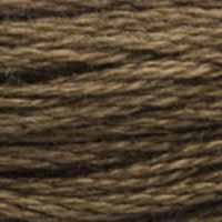A close-up view of embroidery thread skeins, held taught horizontally. The shade is a medium dark brown like coffee with a drop of cream