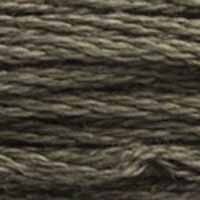 A close-up view of embroidery thread skeins, held taught horizontally. The shade is a medium dark grey with a touch of brown