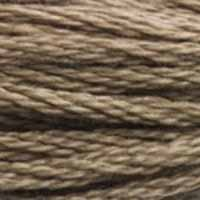 A close-up view of embroidery thread skeins, held taught horizontally. The shade is a medium dark brown with a touch of grey
