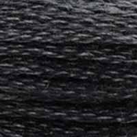 A close-up view of embroidery thread skeins, held taught horizontally. The shade is a very dark true grey
