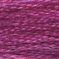 A close-up view of embroidery thread skeins, held taught horizontally. The shade is a lovely shade of pinkish purple, like the McDonald's Grimace