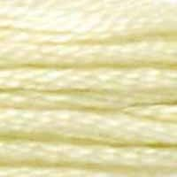 A close-up view of embroidery thread skeins, held taught horizontally. The shade is a subtle shade of yellowish green, like mango ice cream.