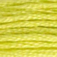 A close-up view of embroidery thread skeins, held taught horizontally. The shade is a pretty shade of yellow-green, like a red plum's flesh.