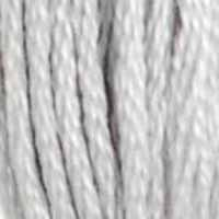 A close-up view of embroidery thread skeins, held taught vertically. The shade is a grey that's almost white