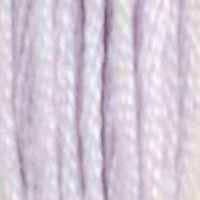 A close-up view of embroidery thread skeins, held taught horizontally. The shade is a very pale lavender
