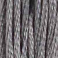 A close-up view of embroidery thread skeins, held taught vertically. The shade is a medium grey