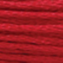 A close-up view of embroidery thread skeins, held taught horizontally. The shade is a light medium reddish mahogany colour in six strand cotton floss, like a hotrod.