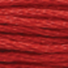 A close-up view of embroidery thread skeins, held taught horizontally. The shade is a dark tawny red colour in six strand cotton floss, like a cherry tomato.