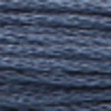 A close-up view of embroidery thread skeins, held taught horizontally. The shade is a dark  slate blue colour in six strand cotton floss, like the dark in a tunnel.