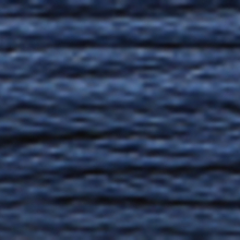 A close-up view of embroidery thread skeins, held taught horizontally. The shade is a very dark slate blue colour in six strand cotton floss, like late twilight skies.