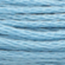 A close-up view of embroidery thread skeins, held taught horizontally. The shade is a medium pure blue colour in six strand cotton floss, like a clear spring sky.