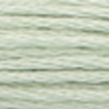 A close-up view of embroidery thread skeins, held taught horizontally. The shade is a very pale grayish off white colour in six strand cotton floss, like trodden snow along a path.