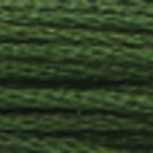 A close-up view of embroidery thread skeins, held taught horizontally. The shade is a turf green colour in six strand cotton floss, like strands of kelp.
