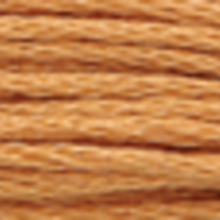 A close-up view of embroidery thread skeins, held taught horizontally. The shade is a ruddy brown colour in six strand cotton floss, like a cinnamon stick.