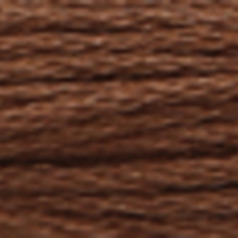 A close-up view of embroidery thread skeins, held taught horizontally. The shade is a very dark wood brown colour in six strand cotton floss, like rich chestnut.