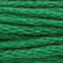 A close-up view of embroidery thread skeins, held taught horizontally. The shade is a  medium dark apple green colour in six strand cotton floss, like spruce needles