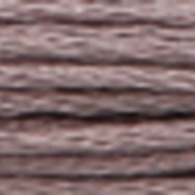 A close-up view of embroidery thread skeins, held taught horizontally. The shade is a medium grayish purple colour in six strand cotton floss, like tarnished silver