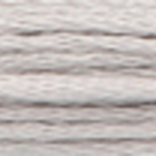 A close-up view of embroidery thread skeins, held taught horizontally. The shade is a very pale tin grey colour in six strand cotton floss, like the dust on a chalkboard