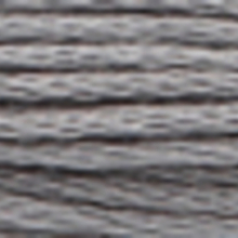 A close-up view of embroidery thread skeins, held taught horizontally. The shade is a medium tin grey colour in six strand cotton floss, like a stick of chalk