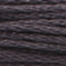 A close-up view of embroidery thread skeins, held taught horizontally. The shade is a dark tin grey colour in six strand cotton floss, like a clean blackboard.