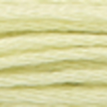 A close-up view of embroidery thread skeins, held taught horizontally. The shade is a very light pale grey green colour in six strand cotton floss, like balsa wood