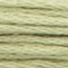 A close-up view of embroidery thread skeins, held taught horizontally. The shade is a pale grey green colour in six strand cotton floss, like half-dried hay