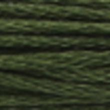 A close-up view of embroidery thread skeins, held taught horizontally. The shade is a very dark grey green colour in six strand cotton floss, like strands of seaweed