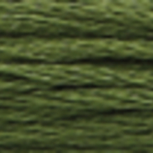 A close-up view of embroidery thread skeins, held taught horizontally. The shade is a dark evergreen colour in six strand cotton floss, like an under-ripe avocado