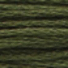 A close-up view of embroidery thread skeins, held taught horizontally. The shade is a very dark evergreen colour in six strand cotton floss, like sautéed spinach