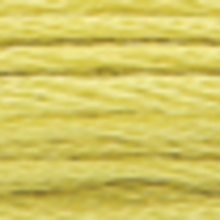 A close-up view of embroidery thread skeins, held taught horizontally. The shade is a light muddy green colour in six strand cotton floss, like fresh straw
