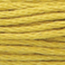 A close-up view of embroidery thread skeins, held taught horizontally. The shade is a medium light muddy green colour in six strand cotton floss, like dried flax seeds