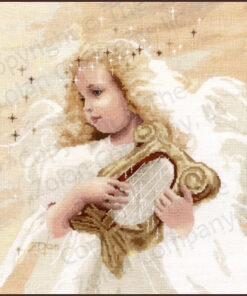 A cherubic blond girl with a gold harp. She has a full flowing white dress, a halo of tiny stars, pale wings barely visible.