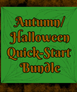 "A black and brown mossy border around a green square in the middle. Text reads, ""Autumn/Halloween Quick-start Bundle"""