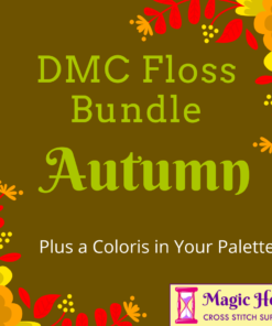 A yellow-brown square, bordered with red and orange leaves and flowers. Text reads: DMC Floss Bundle Autumn, Plus a Coloris in Your Pallet