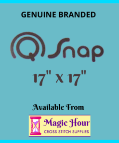 "A cyan square. Text reads, ""Genuine Branded Q Snap, 17 inch by 17 inch. Available from Magic Hour Cross Stitch Supplies"""